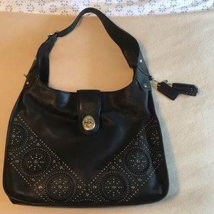Coach leather studded hobo with crossbody strap